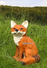 Fuchs Hund Wild Tier Wald Wiese Feld Deko Figur sitzend liegend Garten  H.32 cm
