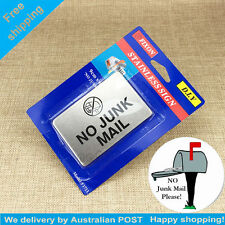 No Junk Mail Stainless Steel Small Sign Adhesive Signs Stick on Sign - 9 X 6cm