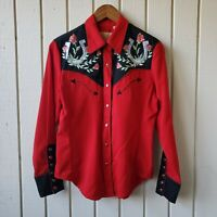 Scully Women's Red Western Style Embroidered Pearl Snap Button Top