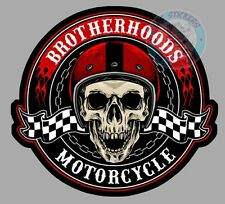 STICKER BROTHERHOOD CAFERACER MOTORCYCLE SKULL PILOTE DRIVER AUTOCOLLANT BB164
