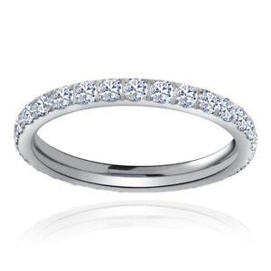 Womens Titanium Eternity Rings CZ Wedding Engagement Band Black Silver Rose Gold