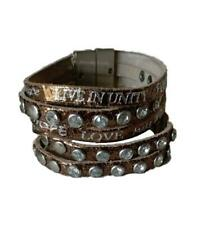 Good Works Genuine Leather Shiny Bronze Crystal Accent Wrap Bracelet NEW