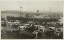 Made in Mallorca Steamship Docked Busy Dock Scene Horse Carriages c1910 RPPC