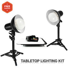"""12"""" Black & White Reflective Background Table w/ Studio LED Table Top Lights"""