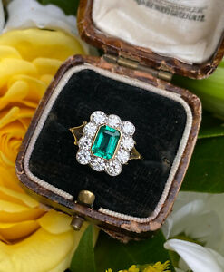 Victorian Emerald and Diamond Cluster 18ct Yellow Gold Ring 1.0ct + 0.90ct