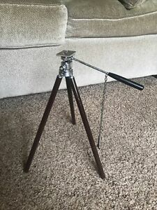 Vintage  Brass Telescoping Legs Camera Tripod with Leather Case Spotting Scope