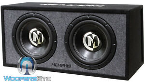 "MEMPHIS 2 12"" SUBWOOFERS + PORTED BOX LOADED ENCLOSURE BASS SPEAKERS CAR AUDIO"