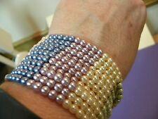 "Spring Pastel Bead Pink Blue Lav Green Beige Stretch Bracelet 1.5"" Very Wide"