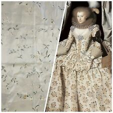 NEW Designer 100% Silk Taffeta Cream with Champagne and Green Floral Embroidery