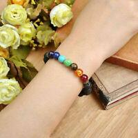 Edelstein Chakra Lava Felsen Stein Spacer Healing Korn Armband-Armband I8U3 K2Q6