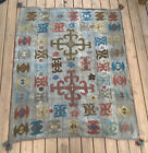 Embroidered 5x6 FT. Kazakh handmade tribal kilim kelim Nomad rug Tapestry #PM75