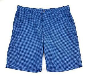 Callaway Men's Optimum Performance Stretch Flat Front Blue Check Golf Shorts 36