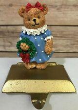 Handpainted Girl Teddy Bear Christmas Stocking Hanger Holder Cast Iron Base