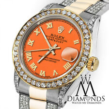 Women's 31mm Rolex Oyster Perpetual Datejust Custom Orange Color Diamond Roman