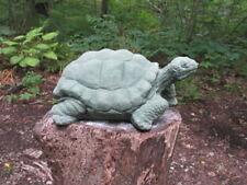 "Large Cement 12"" Long Turtle Garden Art w/Green Patina Concrete Statue"