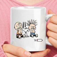 Charlie Brown Snoopy Linus Van Pelt 1% Battery Left Funny Coffee Mug Tea Cup