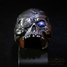 Sterling Silver Skull Sapphire Ring Harley Biker Memento Mori Pirate by UNIQABLE