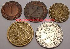 Germany Third Reich Set 5 coins 1 2 5 10 50 pfennig 1924-1936 (mixed dates)