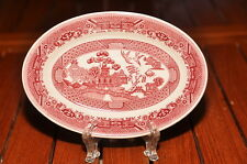"""4 Pink Red Willow 7"""" Oval platter Vitrified China Restaurant Ware Sterling USA"""