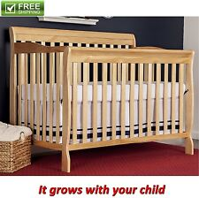 CONVERTIBLE BABY BED 5-in-1 FULL SIZE CRIB NATURAL NURSERY BEDROOM FURNITURE NEW