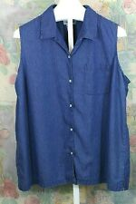 Women's Cabin Creek Denim Sleeveless Shirt Top Size 22W Button Up with Collar