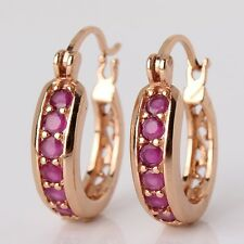 Eternity design ruby 18k gold filled hoop Antique HOT SALE earring
