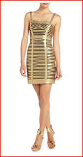 BCBG MAXAZRIA  BERET GOLD PANEL BANDAGE ADJUST STRAP DRESS 0P NWT $388-RackE/83