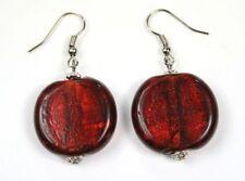 DARK RED garnet CHUNKY FOIL GLASS murano EARRINGS match