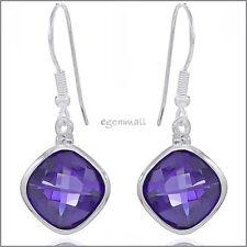 Sterling Silver Rhombus Drop Dangle Earrings with CZ Amethyst Purple #53141