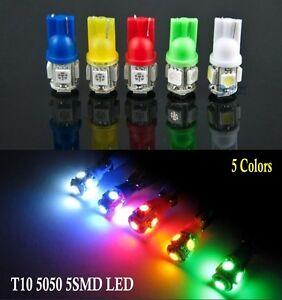 LED T10 5050 5SMD Car Side Lights Bulb Lamp DC 12V Red|Yellow|White|Blue|Green