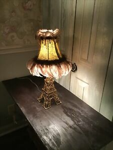 """Eiffel Tower Table Lamp Gold Metal. 18"""" Tall W/ Shade."""