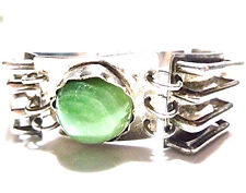 """OLD MEXICO MEXICAN MODERN MODERNIST STERLING SILVER GREEN STONE BRACELET 7"""""""