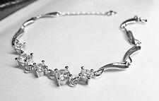 Brillante bracciale da donna ondulato placc argento cubic zirconia Wavy bracelet