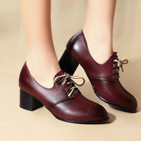 Womens Lace Up Oxford Mid Cuban Heels Brogue Pointed Toe Dress Shoes Pumps yoooc