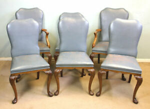 ANTIQUE SET OF SIX QUEEN ANNE STYLE WALNUT DINING CHAIRS