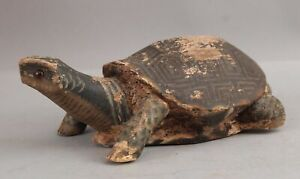 RARE! Antique Folk Art Carved Wood & Painted Working TURTLE DECOY, NR
