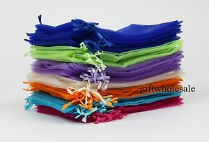 50 100 Organza Drawstring Gift Jewelry Bags Pouches Wedding Xmas Party Favour