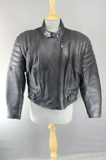 JTS BLACK LEATHER BIKER JACKET WITH REMOVABLE CE SHOULDER & ELBOW ARMOUR SIZE 14
