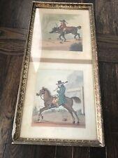Antique Color Lithograph Print Equestrian Scene