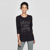 Women's Long Sleeve Crewneck Sparkle And Shine T-Shirt - Knox Rose Black S