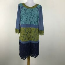 Boden Dress US Size 8 Floral Lace Silk 3/4 Sleeves Blue Green Womens