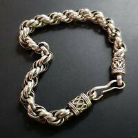 Sterling Silver 925 Twisted Rope Chain Bracelet Men Women 20,5 gr 7mm