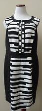 CITY CHIC Black/Ivory 'Broken Stripe' Exposed Zipper Sheath Dress Plus S FASHION