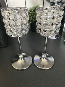 Silver And  Crystal Beaded Votive Candle Holders Centrepiece Home Decor