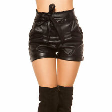 Leather Look Shorts Belted High Waisted Faux Leather KouCla - Black