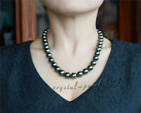 stunning 12-10 MM NATURAL TAHITIAN BLACK  PEARL NECKLACE 18'' 14K clasp