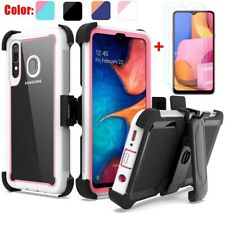 For Samsung Galaxy A20S Shockproof Bumper Case+Tempered Glass+Belt Clip Holster
