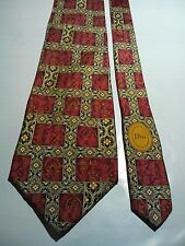 Christian Dior Paris Men's Vintage Silk Tie in a Red and Gold Geometric Pattern