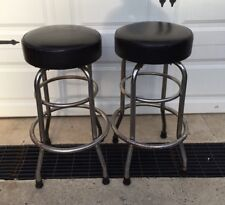 2 vintage black chrome swivel bar stools pub removed from closing local bar - Vintage Bar Stools