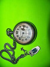 antique Waltham Railroad Train Pocket watch & old silver watch chain & fob